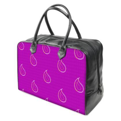Paisley Drops on purple Holdalls