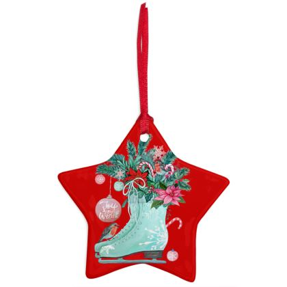 Christmas tree decoration in China with retro Ice skate art and reversible Poinsettia art