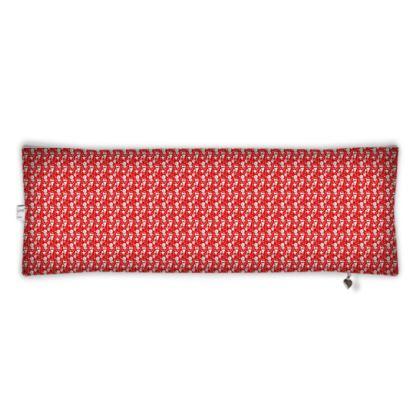 housse de traversin, motif blanc et fond rouge