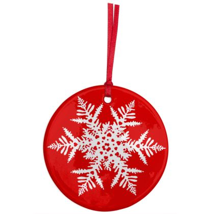 Red Snowflake Christmas tree ceramic decoration