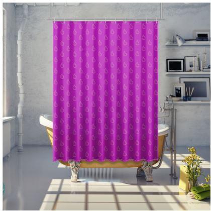 Paisley Drops on purple Shower Curtain