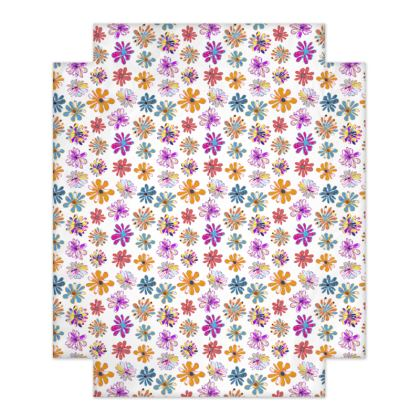 Rainbow Daisies Collection on white Fitted Sheets