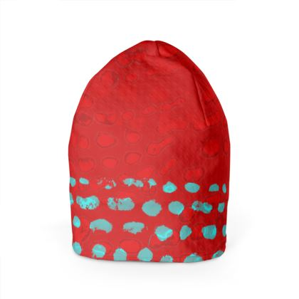 Textural Collection in red and turquoise Beanie