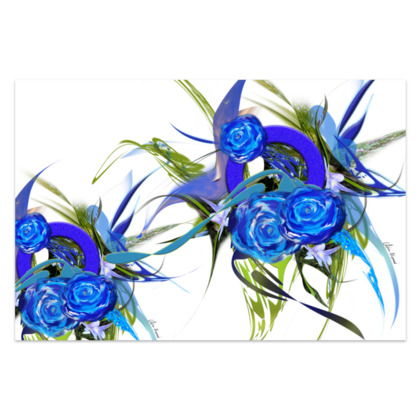 Sarong - Blue flower White