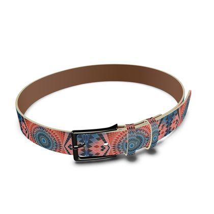 Leather Belt Red Mandala