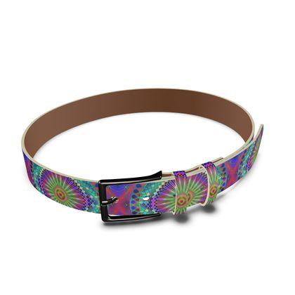 Leather Belt Sun Mandala