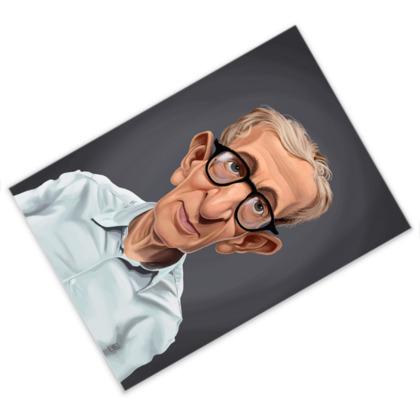 Woody Allen Celebrity Caricature Postcard