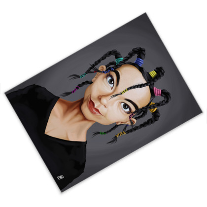 Björk Celebrity Caricature Postcard
