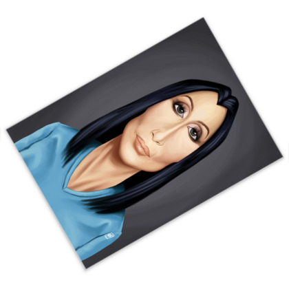 Cher Celebrity Caricature Postcard