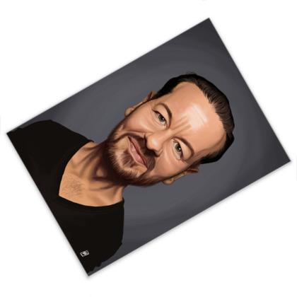 Ricky Gervais Celebrity Caricature Postcard