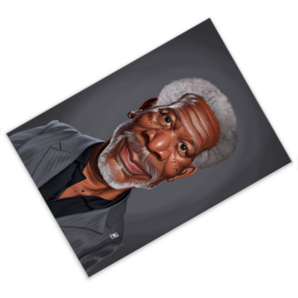Morgan Freeman Celebrity Caricature Postcard
