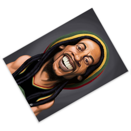 Bob Marley Celebrity Caricature Postcard
