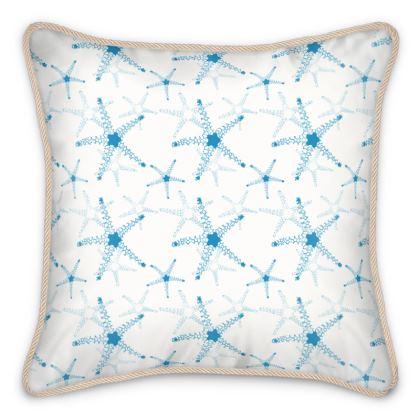 Sea Stars In Aqua Blue Silk Cushions