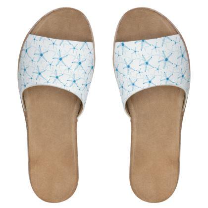 Sea Stars In Aqua Blue Womens Leather Sliders