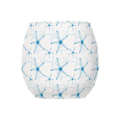 Sea Stars In Aqua Blue Glass Tealight Holder