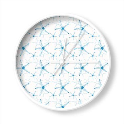Sea Stars In Aqua Blue Wall Clocks