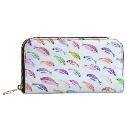 Tropical Fish Collection Leather Zip Purse