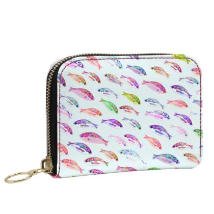 Tropical Fish Collection Small Leather Zip Purse