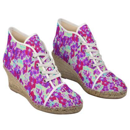 Ladies Wedge Espadrilles Spring Flowers