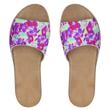 Womens Leather Sliders Spring Flowers