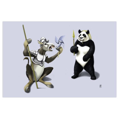 Donkey Xote and Sancho Panda ~ Colour Animal Behaviour Art Print