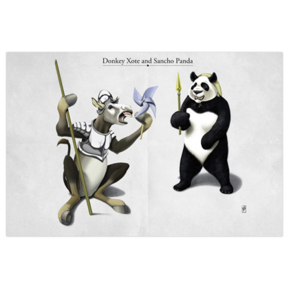 Donkey Xote and Sancho Panda ~ Title Animal Behaviour Art Print