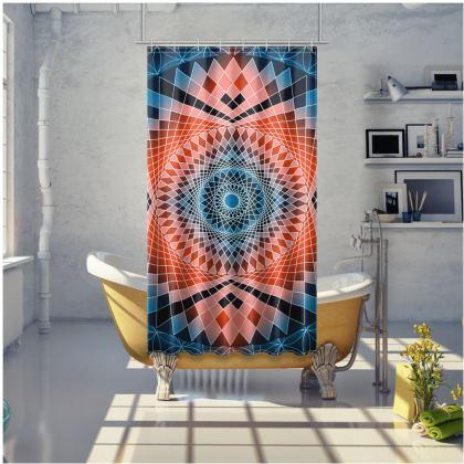 Shower Curtain Red Mandala