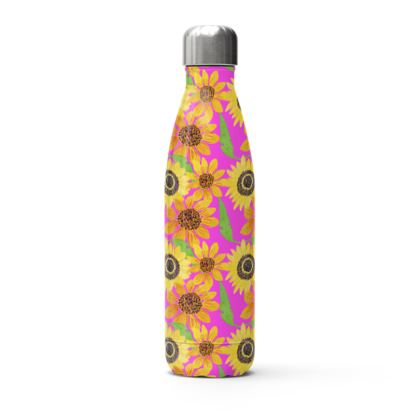 Naive Sunflowers On Fuchsia Stainless Steel Thermal Bottle