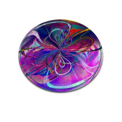 Leather Coasters Purple Flower
