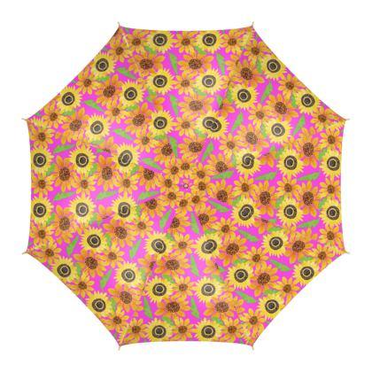 Naive Sunflowers On Fuchsia Umbrella