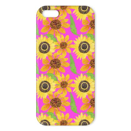 Naive Sunflowers On Fuchsia IPhone Cases