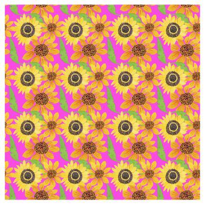 Naive Sunflowers On Fuchsia Trays