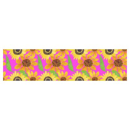 Naive Sunflowers On Fuchsia Cup And Saucer