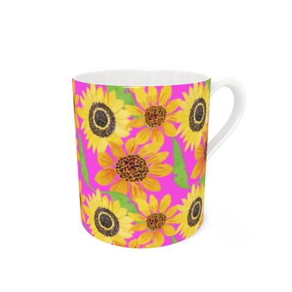 Naive Sunflowers On Fuchsia Bone China Mug