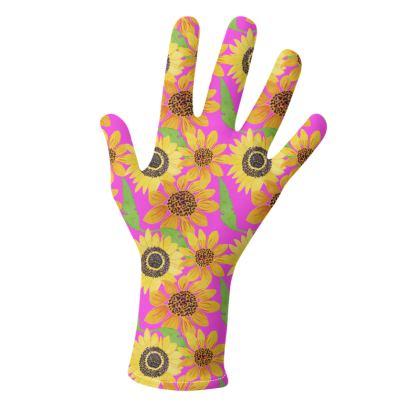 Naive Sunflowers On Fuchsia Gloves