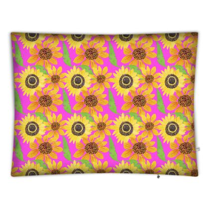 Naive Sunflowers On Fuchsia Floor Cushions
