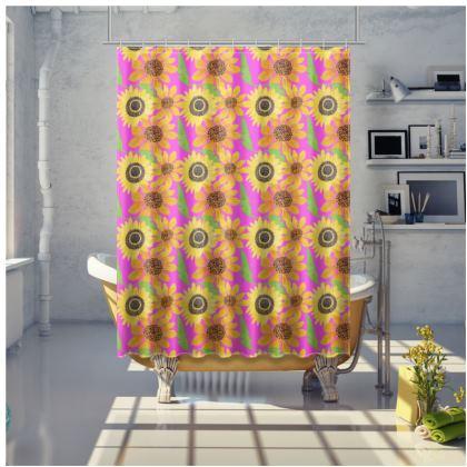 Naive Sunflowers On Fuchsia Shower Curtain