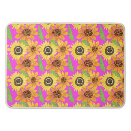 Naive Sunflowers On Fuchsia Bath Mat