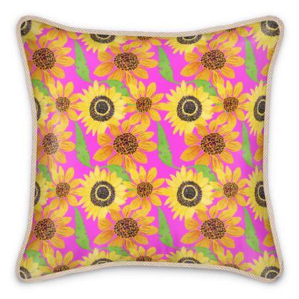 Naive Sunflowers On Fuchsia Silk Cushions