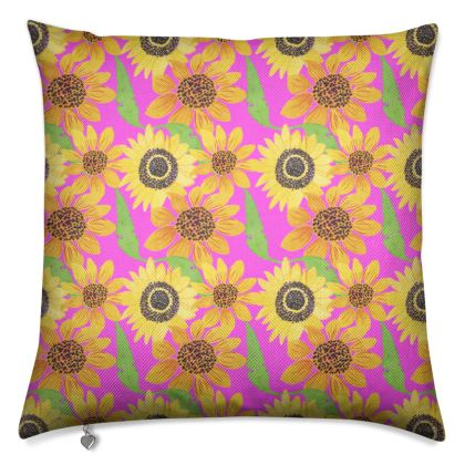 Naive Sunflowers On Fuchsia Luxury Cushions