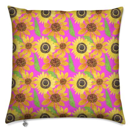 Naive Sunflowers On Fuchsia Cushions