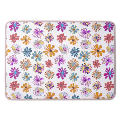 Rainbow Daisies Collection on white Bath Mat