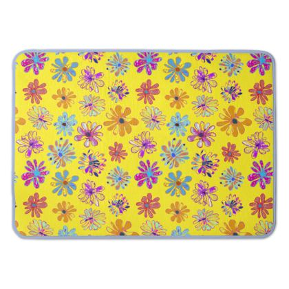 Rainbow Daisies Collection on yellow Bath Mat
