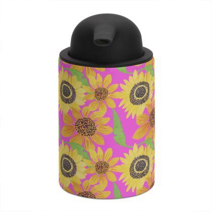 Naive Sunflowers On Fuchsia Soap Dispenser