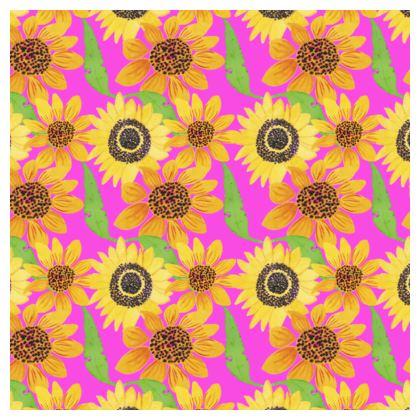 Naive Sunflowers On Fuchsia Cube