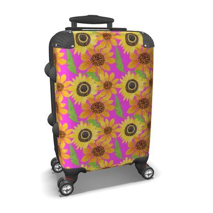 Naive Sunflowers On Fuchsia Suitcase