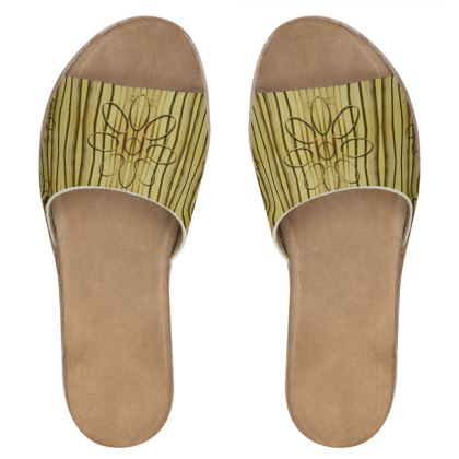 Wood Flowers On Wood Womens Leather Sliders