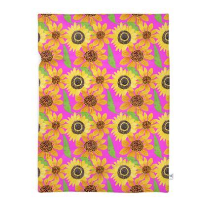 Naive Sunflowers On Fuchsia Blanket