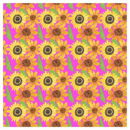 Naive Sunflowers On Fuchsia Folding Stool Chair