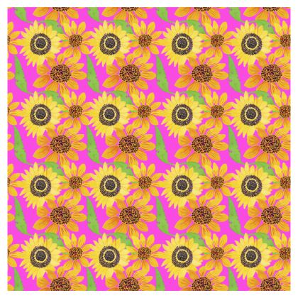 Naive Sunflowers On Fuchsia Deckchair